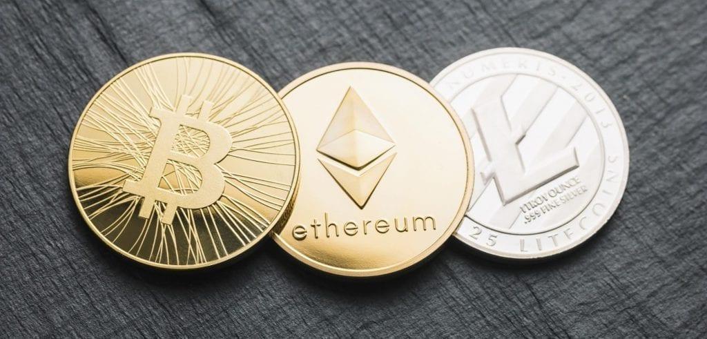 principais criptomoedas bitcoin, ethereum e litecoin