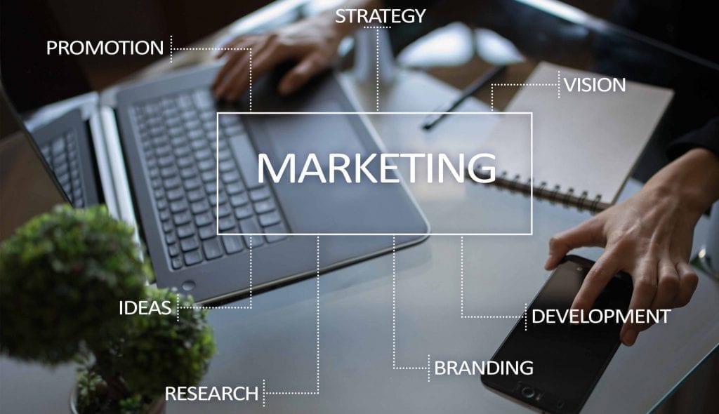 quadro com diversas palavras se ligando ao marketing e notebook no plano de fundo