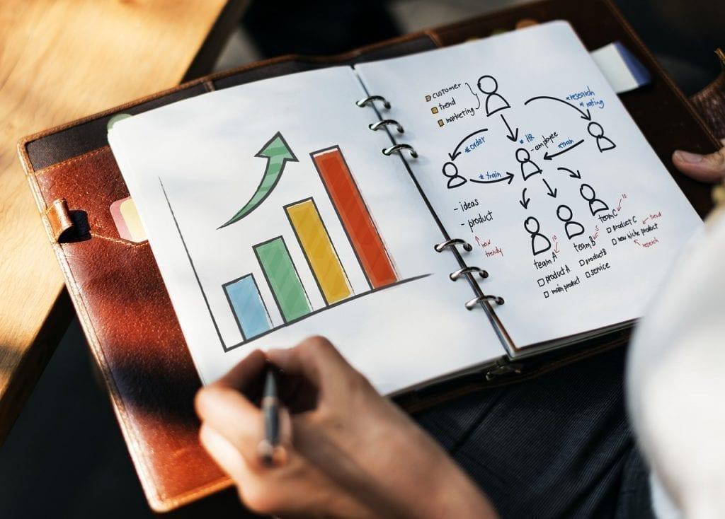 caderno com um gráfico em barra colorido com seta para cima e um gráfico com árvore de pessoas